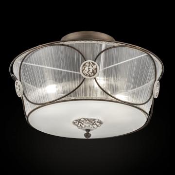Потолочная люстра Maytoni Letizia ARM365-04-R, 4xE27x40W, белый, бронза, коричневый, прозрачный, керамика, металл, текстиль, стекло
