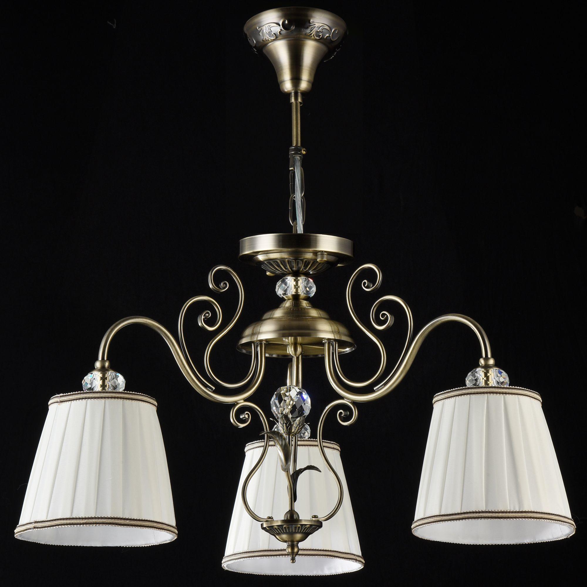 Потолочно-подвесная люстра Maytoni Vintage ARM420-03-R, 3xE14x40W, бронза, белый, металл, текстиль - фото 2