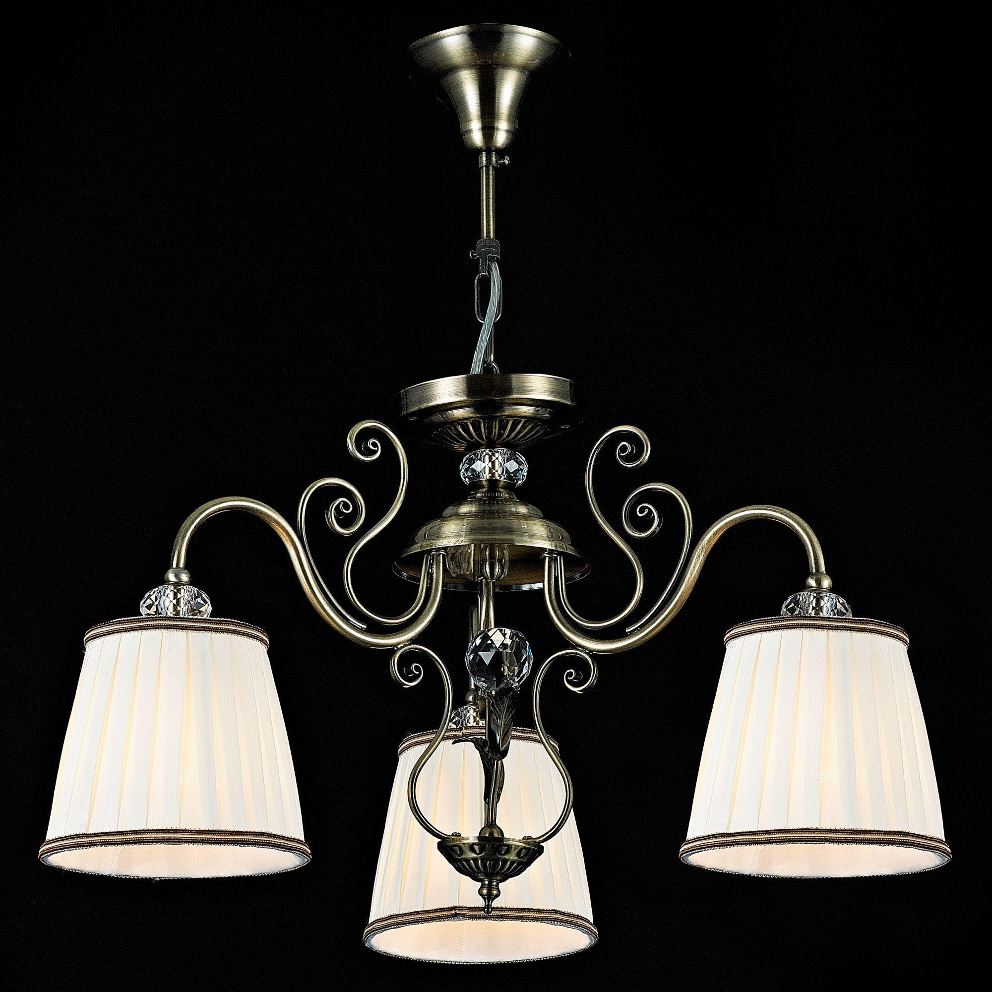 Потолочно-подвесная люстра Maytoni Vintage ARM420-03-R, 3xE14x40W, бронза, белый, металл, текстиль - фото 3