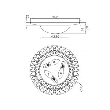 Схема с размерами Maytoni H301-03-G