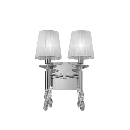Бра Mantra Tiffany 3863, хром, белый, прозрачный, металл, текстиль, хрусталь