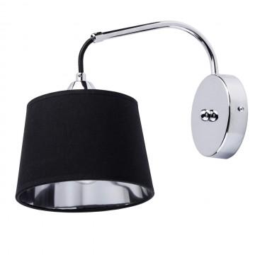 Бра MW-Light Лацио 103021001, 1xE27x40W, хром, черный, металл, текстиль