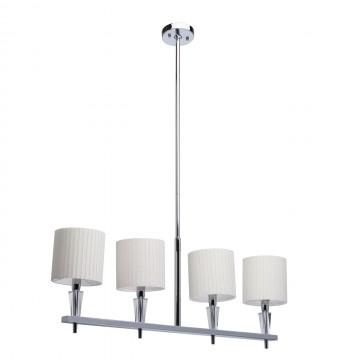Подвесной светильник Chiaro Инесса 460010604, 4xE14x40W, хром, белый, металл с хрусталем, текстиль