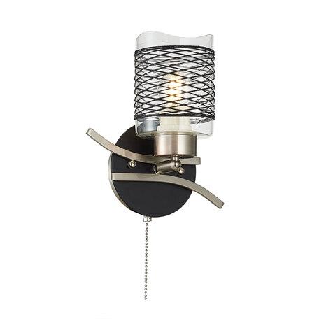 Бра с регулировкой направления света Citilux Мерида CL142312, 1xE27x75W, матовый хром, прозрачный, черный, металл, дерево, стекло
