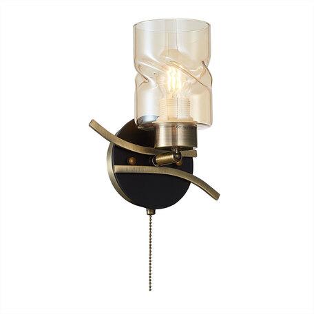Бра с регулировкой направления света Citilux Мерида CL142314, 1xE27x75W, бронза, янтарь, металл, дерево, стекло