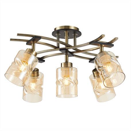 Потолочная люстра с регулировкой направления света Citilux Мерида CL142154, 5xE27x75W, бронза, янтарь, металл, дерево, стекло