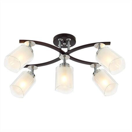 Потолочная люстра с регулировкой направления света Citilux Фортуна CL156152, 5xE27x75W, венге, белый, металл, стекло