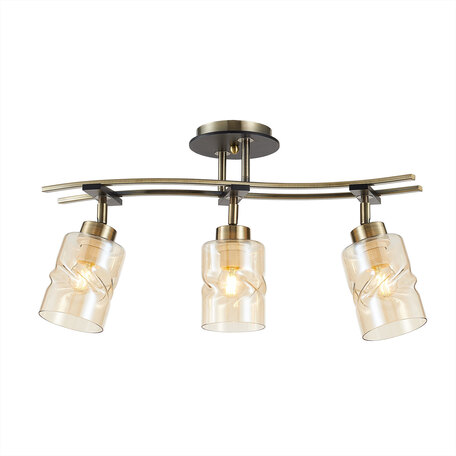 Потолочный светильник с регулировкой направления света Citilux Мерида CL142134, 3xE27x75W, бронза, янтарь, металл, дерево, стекло