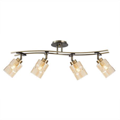 Потолочный светильник с регулировкой направления света Citilux Мерида CL142144, 4xE27x75W, бронза, янтарь, металл, дерево, стекло