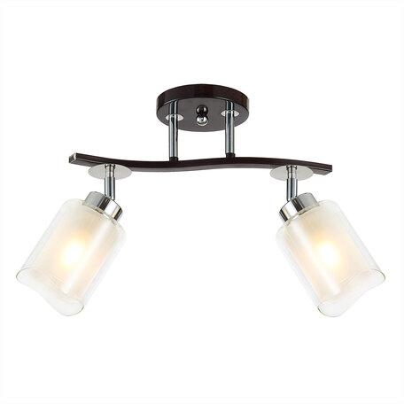 Потолочный светильник с регулировкой направления света Citilux Фортуна CL156122, 2xE27x75W, венге, белый, металл, стекло