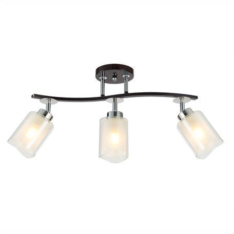 Потолочный светильник с регулировкой направления света Citilux Фортуна CL156132, 3xE27x75W, венге, белый, металл, стекло