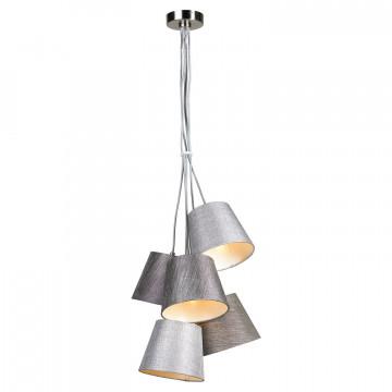 Подвесная люстра Lussole LGO Martinez LSP-8071, IP21, 5xE14x40W, никель, серый, металл, текстиль