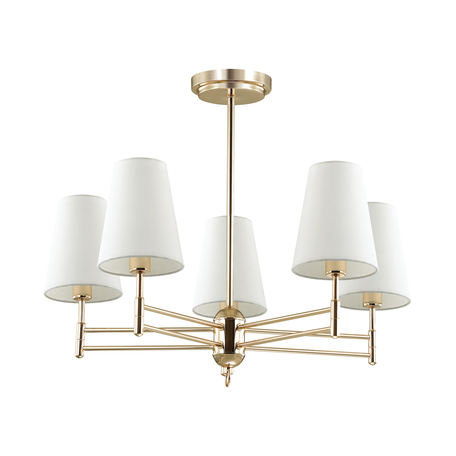 Потолочная люстра Lumion Neoclassi Doris 4436/5C, 5xE14x40W, золото, белый, металл, текстиль