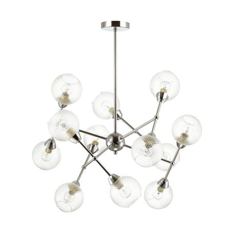 Потолочная люстра Lumion Everly 4438/12C, 12xE14x40W, матовый хром, прозрачный, металл, стекло