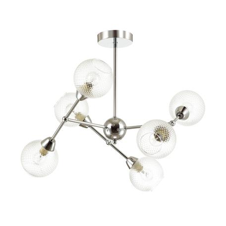 Потолочная люстра Lumion Everly 4438/6C, 6xE14x40W, матовый хром, прозрачный, металл, стекло