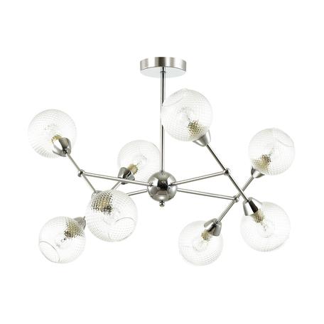 Потолочная люстра Lumion Everly 4438/8C, 8xE14x40W, матовый хром, прозрачный, металл, стекло