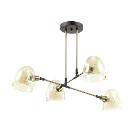 Потолочная люстра с регулировкой направления света Lumion Noah 4434/4C, 4xE14x40W, бронза, коричневый, янтарь, металл, стекло