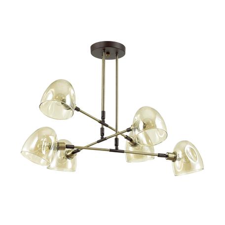 Потолочная люстра с регулировкой направления света Lumion Noah 4434/6C, 6xE14x40W, бронза, коричневый, янтарь, металл, стекло