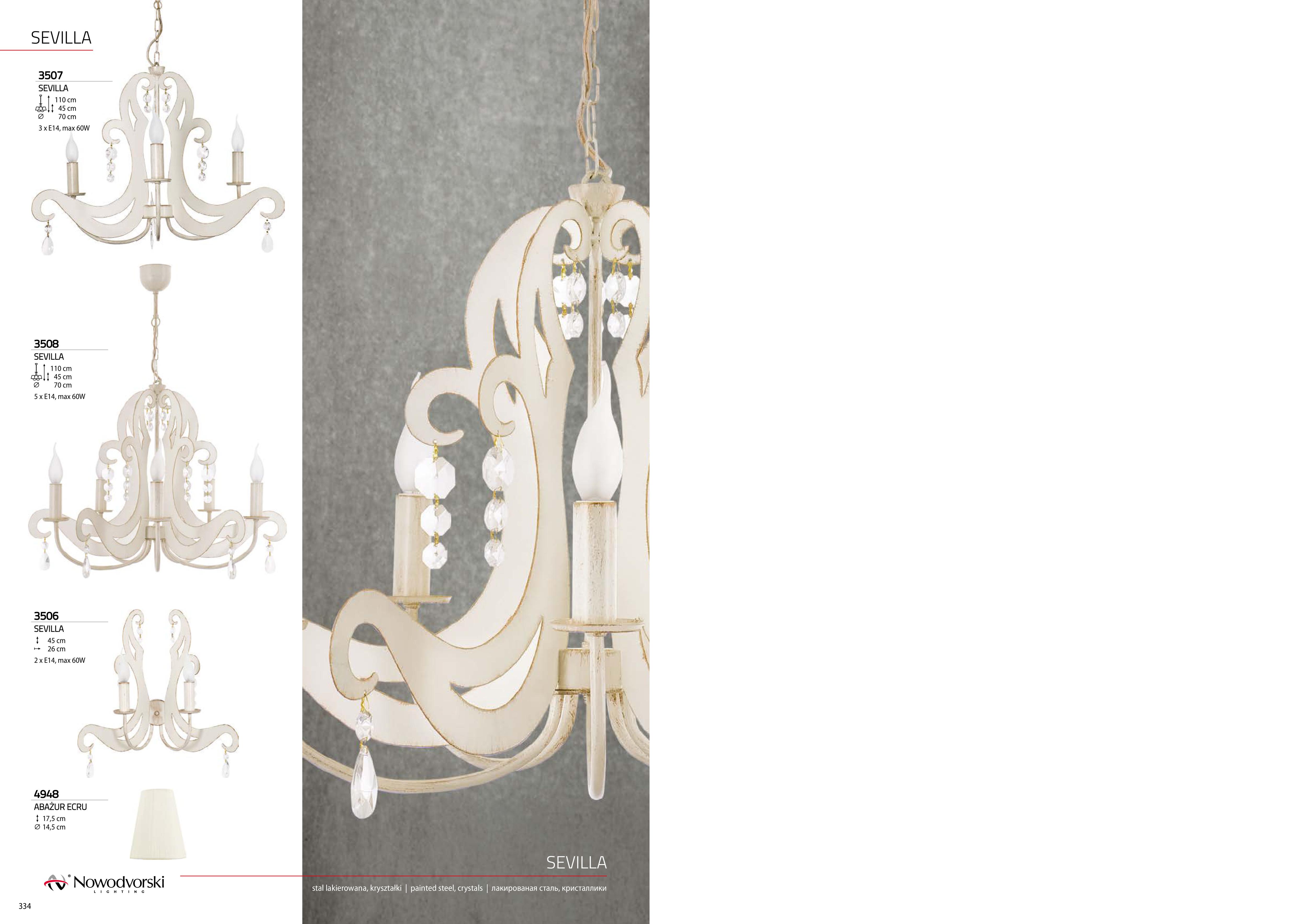 Бра Nowodvorski Sevilla 3506, 2xE14x60W, бежевый с золотой патиной, прозрачный, металл, хрусталь - фото 6