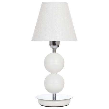 Настольная лампа Nowodvorski Nathalie 4517, 1xE14x60W, белый, хром, металл, кожа/кожзам