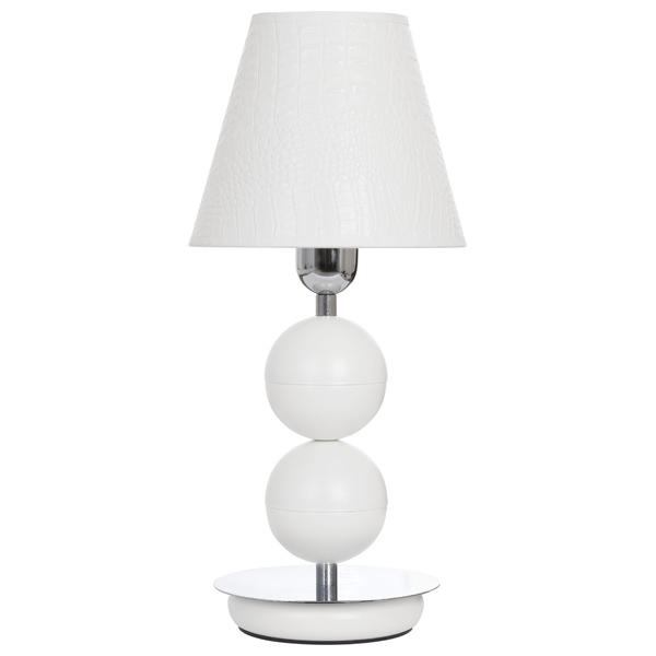 Настольная лампа Nowodvorski Nathalie 4517, 1xE14x60W, белый, хром, металл, кожа/кожзам - фото 1