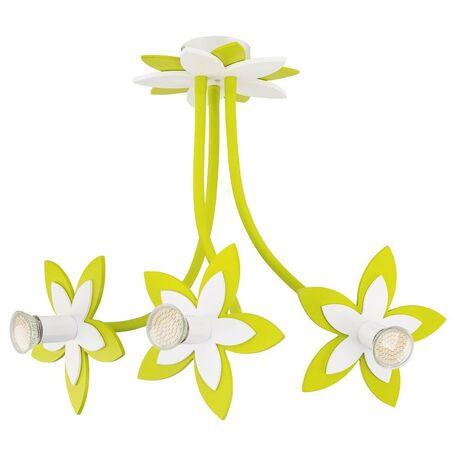 Подвесная люстра Nowodvorski Flowers 6898, 3xGU10x35W, белый, зеленый, дерево, металл