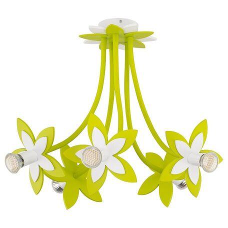 Подвесная люстра Nowodvorski Flowers 6901, 5xGU10x35W, белый, зеленый, дерево, металл