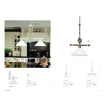 Подвесной светильник Nowodvorski Cora 3486, 2xE27x60W, белый с золотой патиной, белый, металл, стекло - миниатюра 2