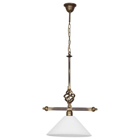 Подвесной светильник Nowodvorski Cora 4745, 1xE27x60W, бронза, белый, металл, стекло