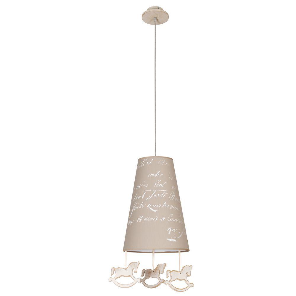 Подвесной светильник Nowodvorski Pony 6378, 1xE27x60W, бежевый, коричневый, дерево, текстиль - фото 1