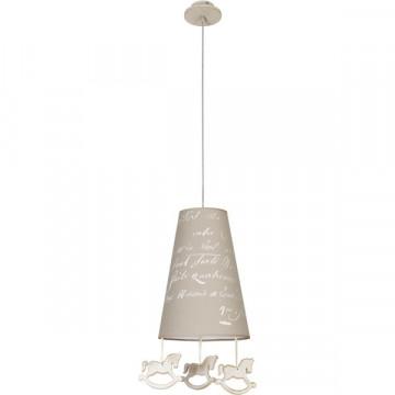 Подвесной светильник Nowodvorski Pony 6378, 1xE27x60W, бежевый, коричневый, дерево, текстиль - миниатюра 2