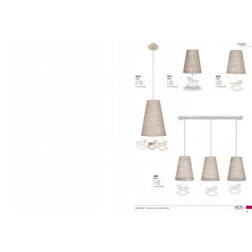 Подвесной светильник Nowodvorski Pony 6378, 1xE27x60W, бежевый, коричневый, дерево, текстиль - миниатюра 3