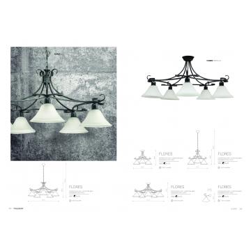 Потолочная люстра Nowodvorski Flores 3526, 3xE27x60W, серый, белый, металл, стекло - миниатюра 2