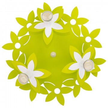 Потолочная люстра Nowodvorski Flowers 6900, 3xGU10x35W, белый, зеленый, дерево, металл