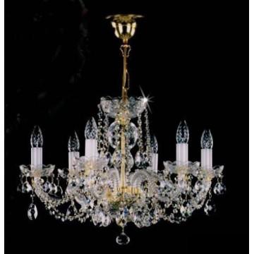 Подвесная люстра Artglass TATANA VI. WHITE CE, 6xE14x40W, белый, золото, прозрачный, стекло, хрусталь Artglass Crystal Exclusive