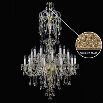 Подвесная люстра Artglass THEODORA XX. 910x1500 POLISHED SP, 20xE14x40W, золото с прозрачным и белым, прозрачный с золотом и белым, прозрачный, стекло, кристаллы SPECTRA Swarovski
