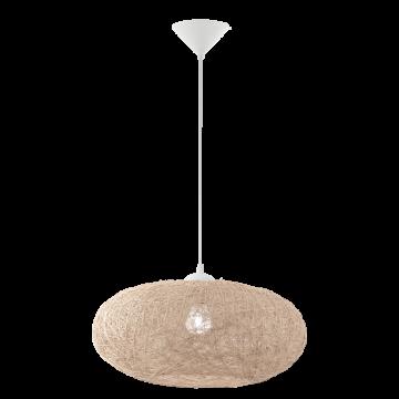 Подвесной светильник Eglo Campilo 93374, 1xE27x60W, белый, бежевый, пластик, текстиль