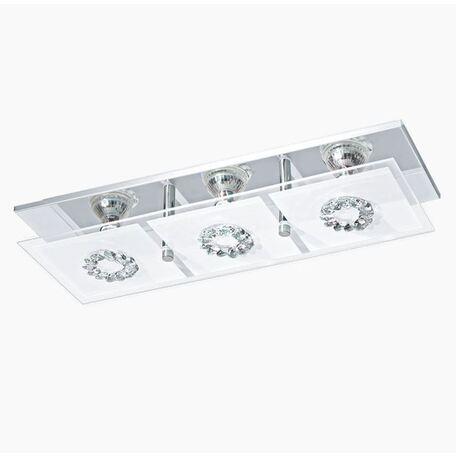Потолочный светильник Eglo Roncato 93782, 3xGU10x3W, хром, белый, металл, стекло