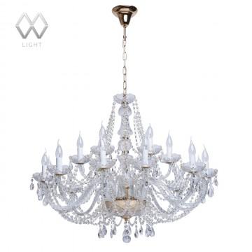 Подвесная люстра MW-Light Каролина 367012918, золото, прозрачный, металл, стекло, хрусталь