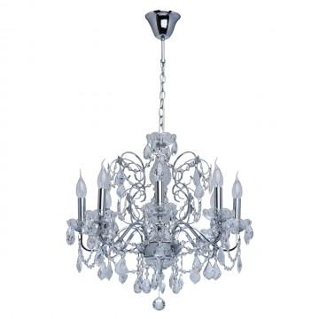Подвесная люстра MW-Light Каролина 367013408, прозрачный, хром, металл, стекло, хрусталь