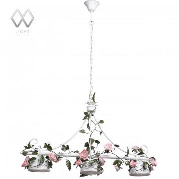 Подвесная люстра MW-Light Букет 421014203, белый с золотой патиной, зеленый, розовый, металл