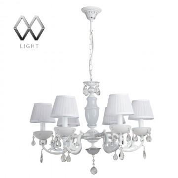 Подвесная люстра MW-Light Селена 482011006, белый, хром, прозрачный, металл, пластик, текстиль, хрусталь