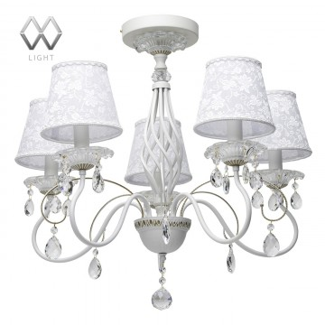 Потолочная люстра MW-Light Августина 419010805, белый, матовое золото, прозрачный, металл, стекло, хрусталь, текстиль