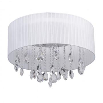 Потолочная люстра MW-Light Жаклин 465014606, хром, белый, прозрачный, металл, текстиль, хрусталь
