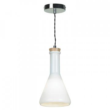 Подвесной светильник ST Luce Capacita SLD978.503.01, 1xE27x60W, хром, белый, металл, дерево, стекло