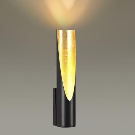 Настенный светодиодный светильник Odeon Light Hightech Whitney 3816/8WL, LED 8W 3000K 640lm, черный, матовое золото, металл
