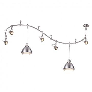 Гибкая система освещения Odeon Light Breta 3807/1, 5xGU10x50W +  2xE27x60W, никель, металл