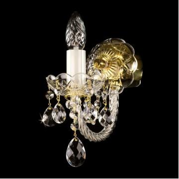 Бра Artglass KARIN I. FULL CUT ST WHITE CE, 1xE14x40W, белый, золото, прозрачный, стекло, хрусталь Artglass Crystal Exclusive