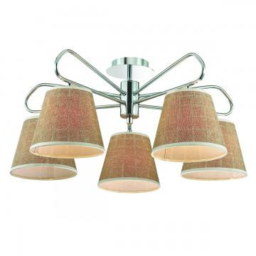 Потолочная люстра Lumion Graziana 3499/5, 5xE14x40W, хром, белый, коричневый, металл, текстиль