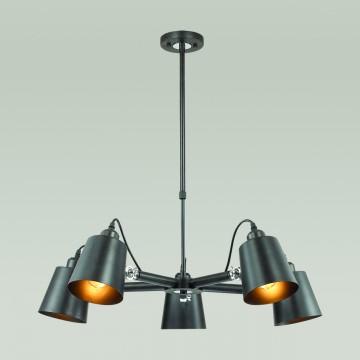 Подвесная люстра с регулировкой направления света Lumion Neropius 3532/5C, 5xE27x60W, хром, черный, металл - миниатюра 3